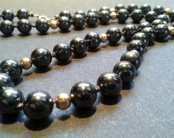 Hematite Bead 14K Gold Necklace