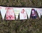 First Birthday Year Progression Banner/Bunting- Custom theme- Photos attached