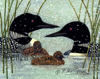 PRINTS, LOONS, giclee prints, prints,Spring, snow, miniature prints, loon decor, water, loon chicks, Ellen Strope, castteam