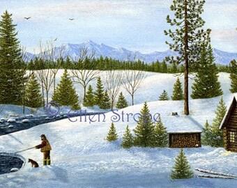 Fishing, cabin, dog, snow, water, creek, wilderness, outdoors, Giclee Print, prints, cabin decor, lodge decor, mountains