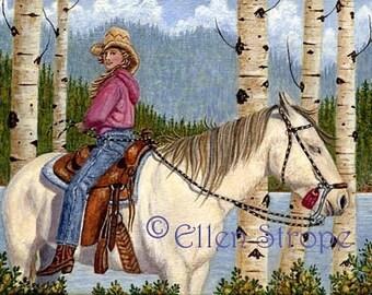 PRINT, giclee print, horses, horse decor, western decor, Ellen Strope, castteam, cowgirl, girls, aspen trees,mountains, whoa team