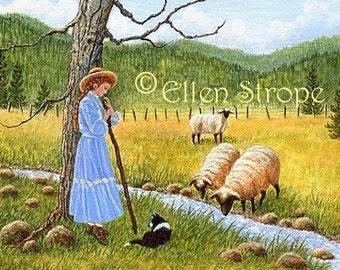 PRINTS, shepherd girl, miniature prints. girl, dog, border collie, sheep, Ellen Strope, castteam