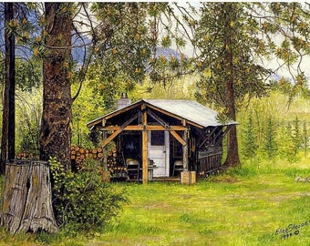 Print, Old Homested 5 X 7 Giclee Print- Old Cabin-Scenic-Beautiful