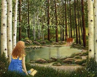 PRINTS, Giclee prints,11 X 14, Psalm 42, deer, girl, water, aspen trees, pine trees, Ellen Strope