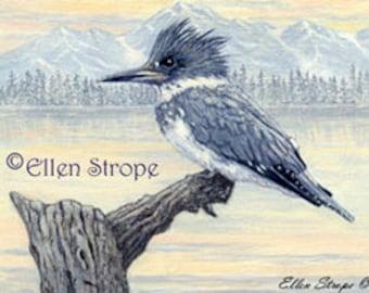 PRINT, Kingfisher, bird decor, art prints, giclee prints, Ellen Strope, water, birds, kingfisher decor, castteam, home decor, cabin decor