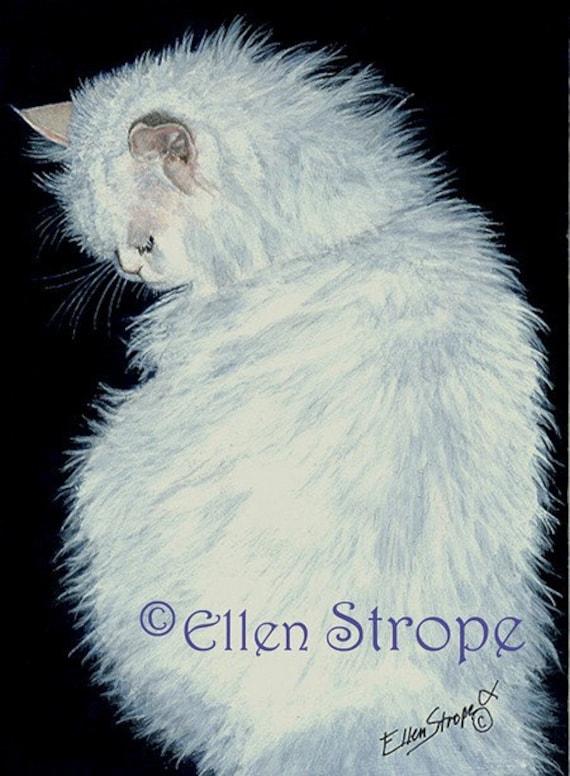CATS, Persian cat, Giclee Print, White Cats, Prints, Art, Cat art