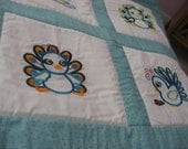 Baby Peacock Embroidered Quilt