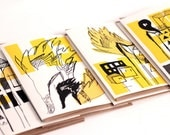 """8 greeting cards. Original illustrations. Each card says """"hi"""". Black, white and yellow."""