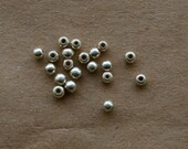 20 Silver Plated Recycled Brass Round Beads