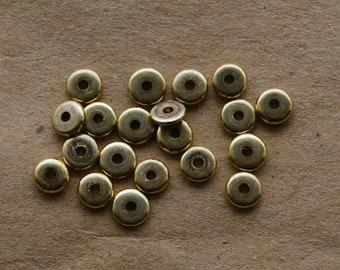 20 Recycled Brass Flat Donut Beads