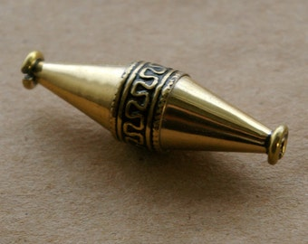 Recycled Brass Large Greek Bicone Bead