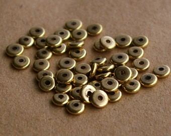 50 Recycled Brass Flat Donut Beads