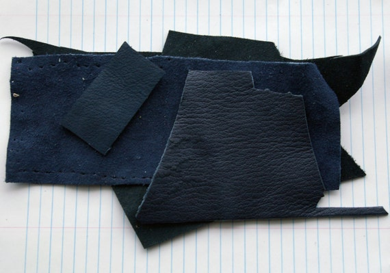 Large Blue Leather Scraps