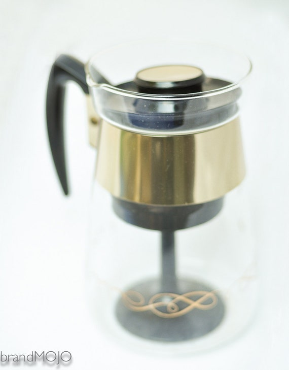 Mid century Glass Stove top Coffee Pot Percolator gold details Pyrex Corning 1960s vintage mad men dinner party brunch