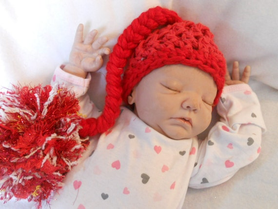 Preemie Red  Christmas elf  Pompom Photography Prop hat 10-11 inch circumference Holiday 15