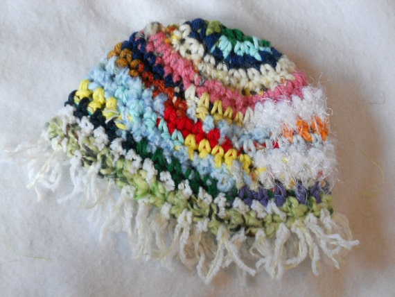 Baby Hat - raggedy fringe cap -  12 inch circumference - Ready2Ship Number 47