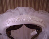 First Holy Communion Veil, First Communion Headpiece,Communion Headband,White,Satin-cord tirmmed veil, Communion Accessories, One of a Kind