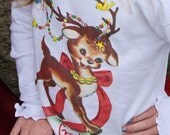 Vintage Christmas T shirt Reindeer