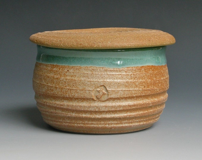 French Butter Keeper in Green Glaze