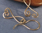 Ribbon Scroll Hammered Earrings, 14k Gold Filled Dangles, Artisan Jewelry Made in USA