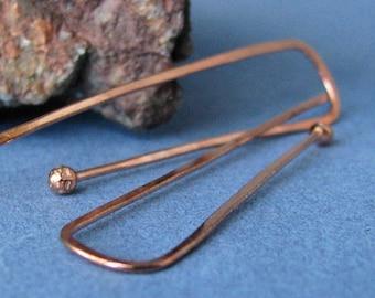 Long Rectangle Copper Hoop Earrings, Hammered Ball Drop Hoops - Artsian Jewelry