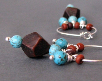 Hoops, Southwest Bohemian Beaded Earrings, Turquoise Wood Dangles, Sterling Silver, Handmade in USA