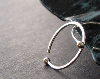 Sleeper Hoop Earrings, Fine Silver 18g, Hammered Earrings, 14mm ID, Open Hoops, Artisan Jewelry