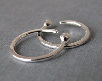 Small Sleeper Hoop Earrings, Fine Silver 18 gauge, 10mm ID, Artisan Made in USA