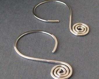 Handmade Earrings, Spiral Hoops, Sterling Silver Hammered Swingers - Made in USA