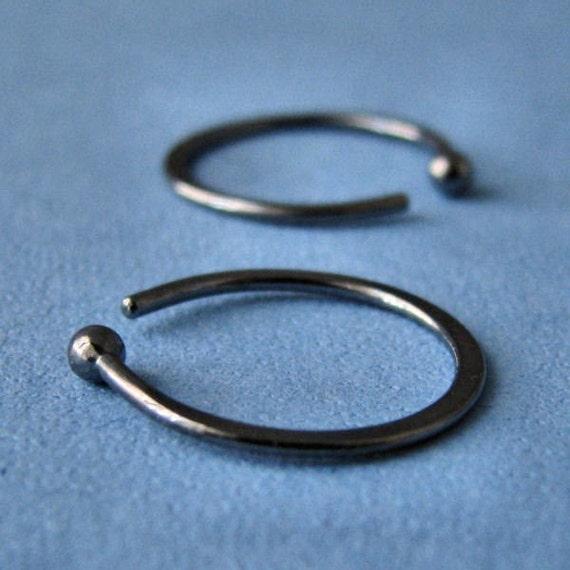 Black Hoop Sleeper Earrings 18 gauge Fine Silver, Hammered, 16mm OD, Gunmetal - Made in USA