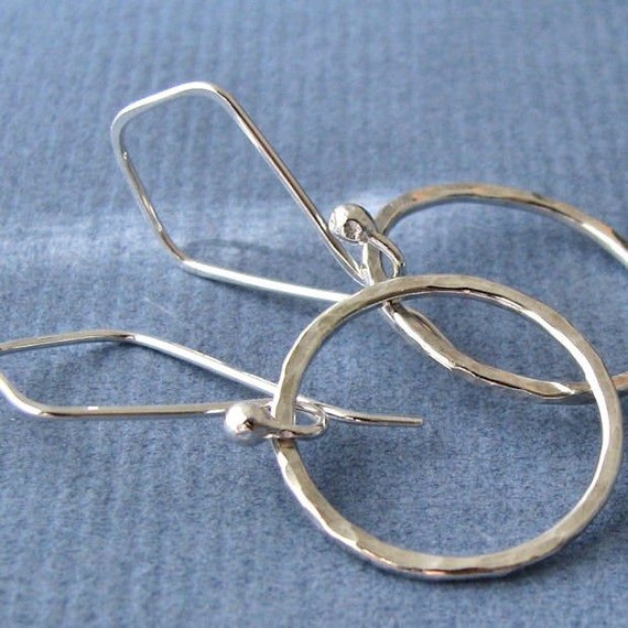 Sterling Silver Dangle Earrings, Hammered Circles on Kites - Artisan Made in USA
