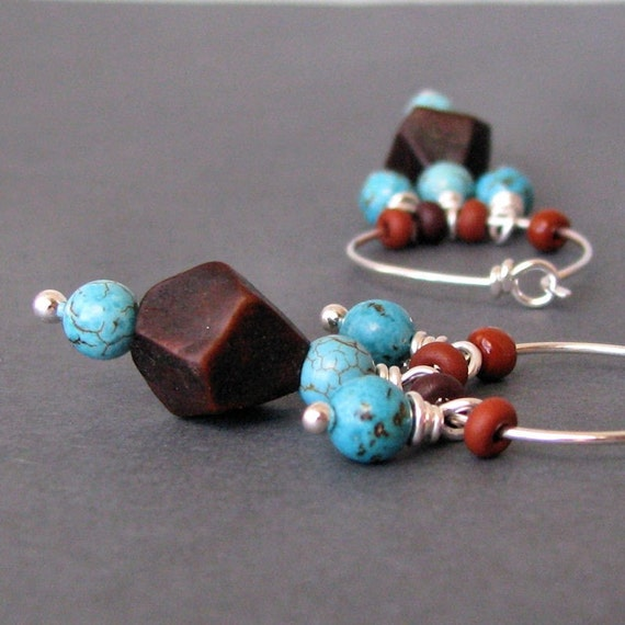 Hoops, Southwest Bohemian Beaded Earrings, Turquoise Wood Dangles, Sterling Silver, Handmade in USA