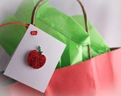Glitter Apple Gift Tags  (Set of 5)