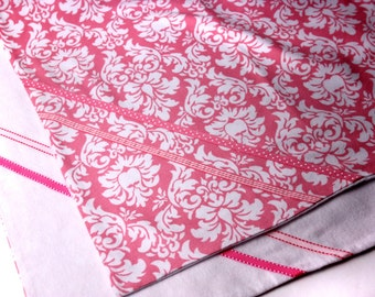 Pink Hawaiian Baby Blanket - Pink and White Hawaiian Floral Cotton Flannel Blanket