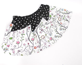 Girls Floral Skirt with Ladybugs, Butterflies, Whimsical Messages and Polka Dots