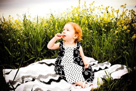 Black Swirls Dress-  Amazing  Black and White Swirl Girls Dress