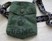Eco Friendly Purse, Pouch Upcycled from Authentic Marine's Shirt and Men's Suit Tie