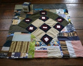Eco Friendly Educational Tummy Time Quilt, Picnic blanket, Baseball game, Playmat, Upcycled Denim patchwork Quilt