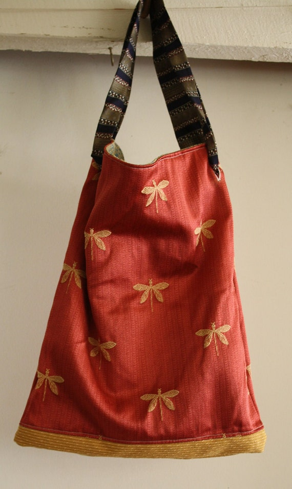 Dragonfly Market Tote- Reversible, Eco Friendly, Upcycled, One of a kind - fully adjustable strap
