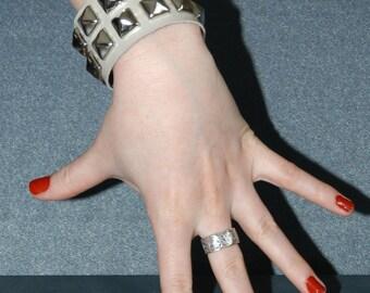 White Patent Leather Pyramid Stud Cuff