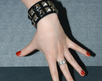 Black Patent Leather Pyramid Stud Cuff