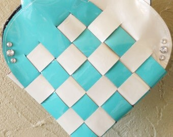 Blue & White Woven Leather Heart Purse