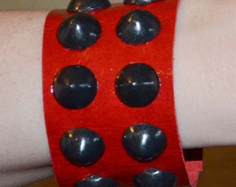 Cherry Red Leather Cuff with Black Cone Studs