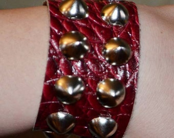 Burgundy Crocodile Embossed Cone Studded Leather Cuff
