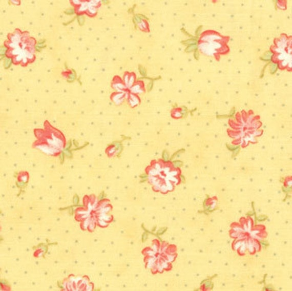 SALE - Fig Tree Quilts, Strawberry Fields, Strawberry Blooms in Daisy - 1/2 Yard