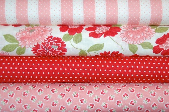 LAST ONE - Bonnie and Camille, Vintage Modern - Fat Quarter Bundle of 4