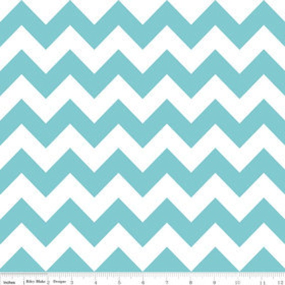 Riley Blake, Chevron Stripe in Aqua - 1 Yard