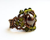 RESERVED for RachaelSwarovski crystal stretch ring elastic beaded olivine bronze copper rust 20% SALE using coupon code 20DISC on checkout