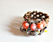 Swarovski Crystal Beaded ring coral pink bronze band