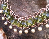 Pearl and Peridot Copper Choker Bridal Necklace